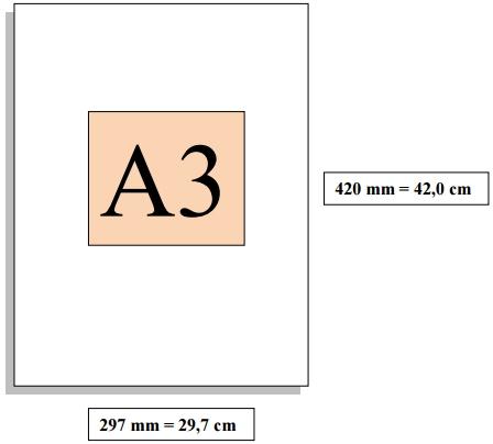 Dimensioni foglio A3